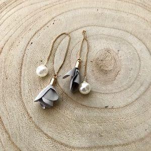 Gold & Gray Pearl Ribbon Threader Dangle Earrings